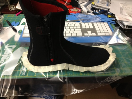 Neoprene Diving Boot to be Painted: Bad Idea