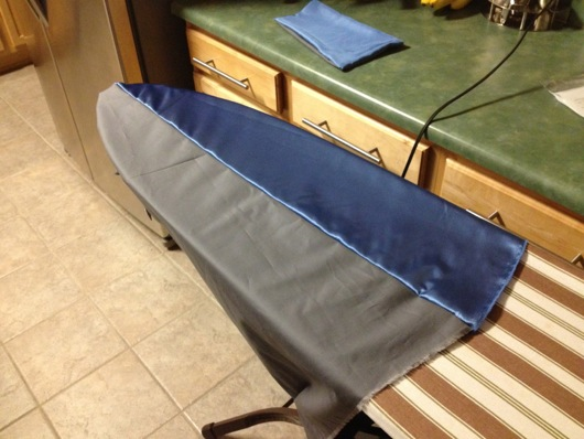 DIY Superhero Cape Open Ended on Ironing Board