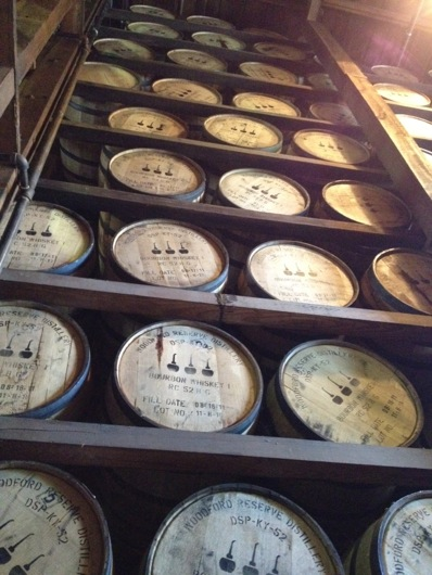 Woodford Reserve Barrels on Ricks
