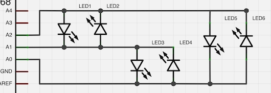 Charlieplexing Schematic: 3 Pins, 6 LEDs