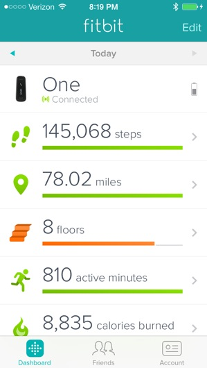 Typical FitBit Daily Totals