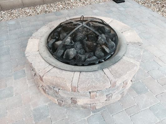 Closer picture of DIY paver fire pit with screen