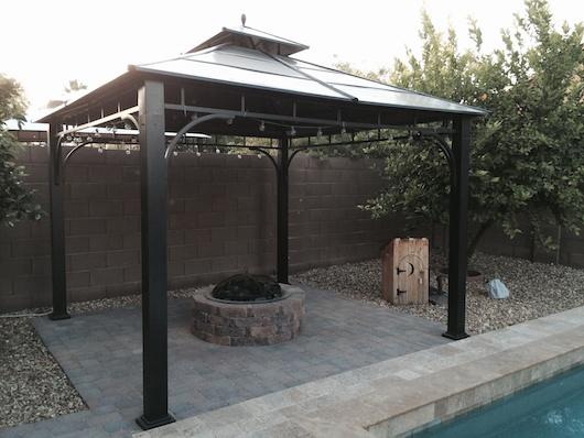 Complete fire pit, paver and pergola setup - Update On Backyard DIY LP Fire Pit — StuffAndyMakes.com