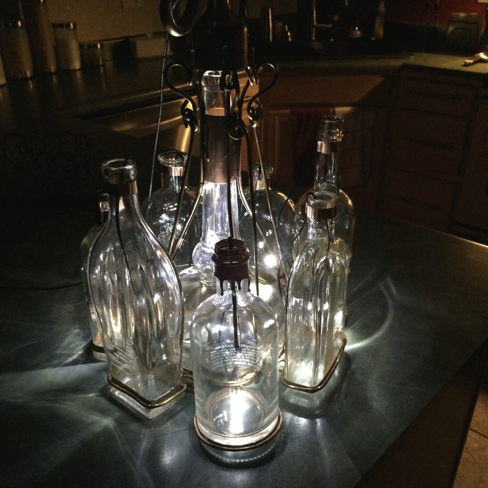First Test Run of the Bourbon Bottle Chandelier