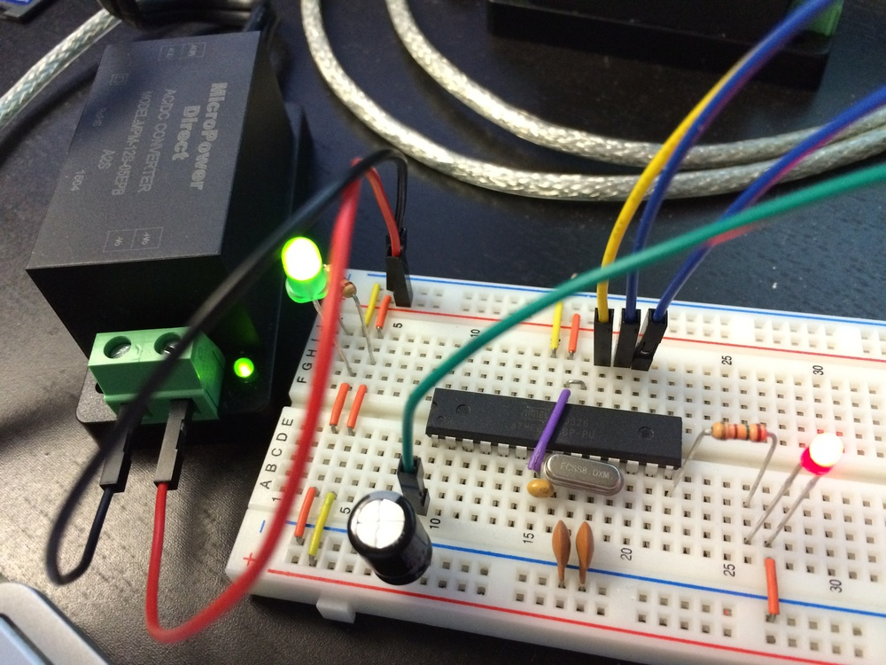Breadboard AVR (Arduino) setup with MPM-12S-05EPB 5V switching AC-DC power supply from MicroPower Direct