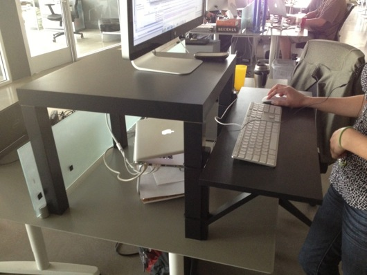 Standing desk improvisation inspiration with little for Ikea stand up pupitres