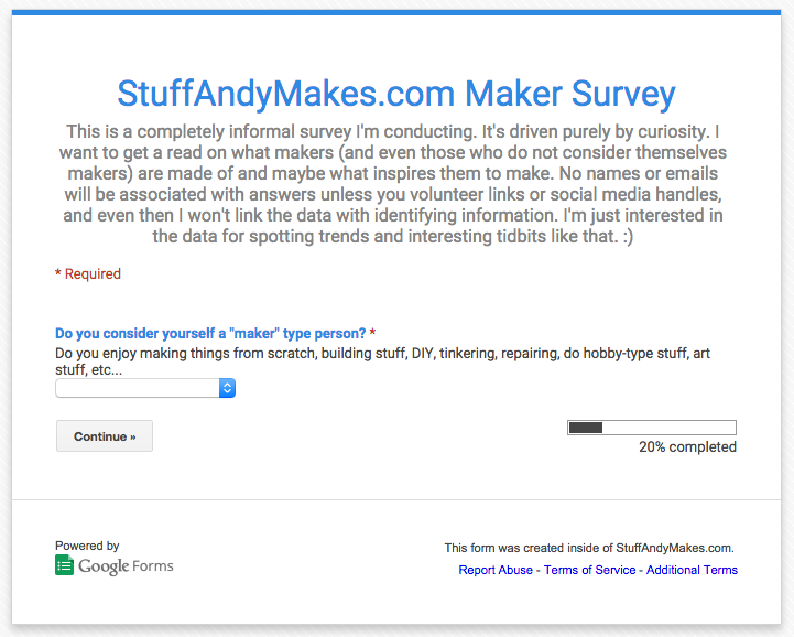 StuffAndyMakes.com Maker Survey Screenshot