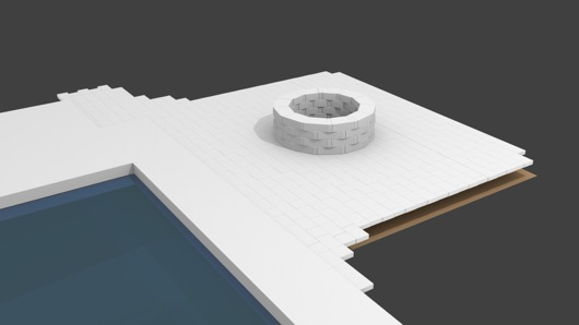 Rendering of Backyard Fire Pit and Pavers in Blender 3D