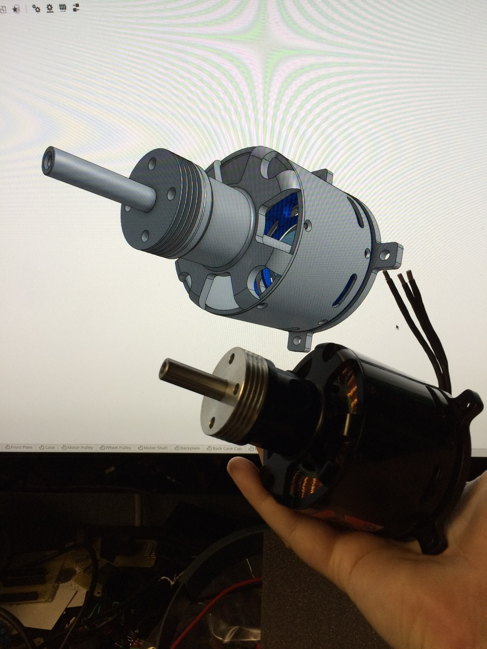 The real brushless motor and the CAD version