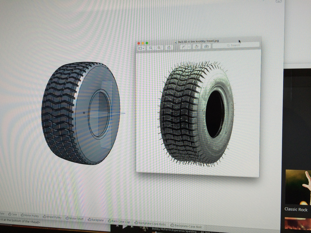 "Non-marking 9.5"" scooter tire modeled in Onshape"