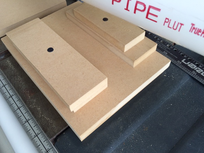 Another view of scrap MDF pipe holder for drill press
