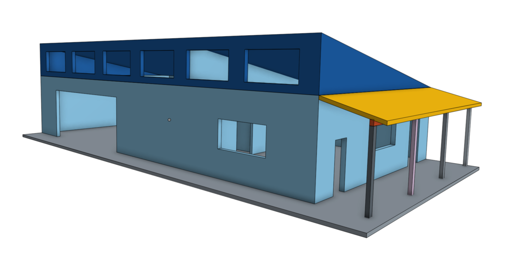 This is a perspective rendering of the detached workshop.