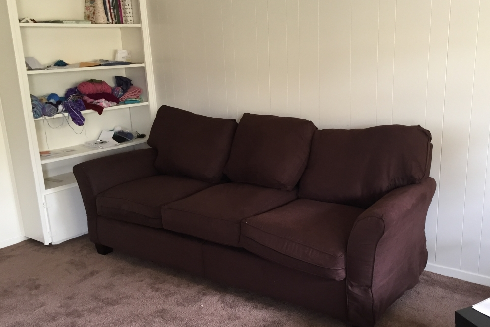 a couch purchased with funds raised for Eva