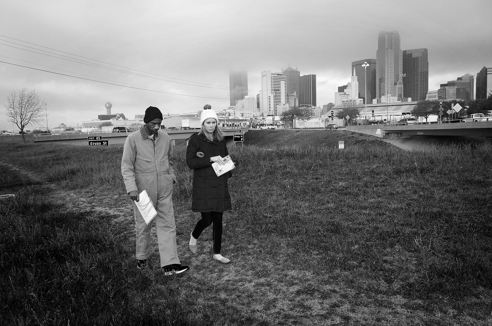 Photo by Christena Dowsett Crawford, left, and The Human Impact staff, Elisabeth Jordan, walk near downtown Dallas.