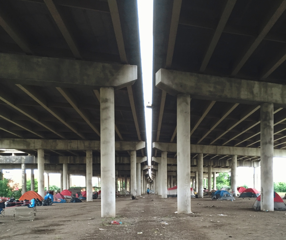 The new home of many of our homeless friends, and one of two remaining homeless encampments.