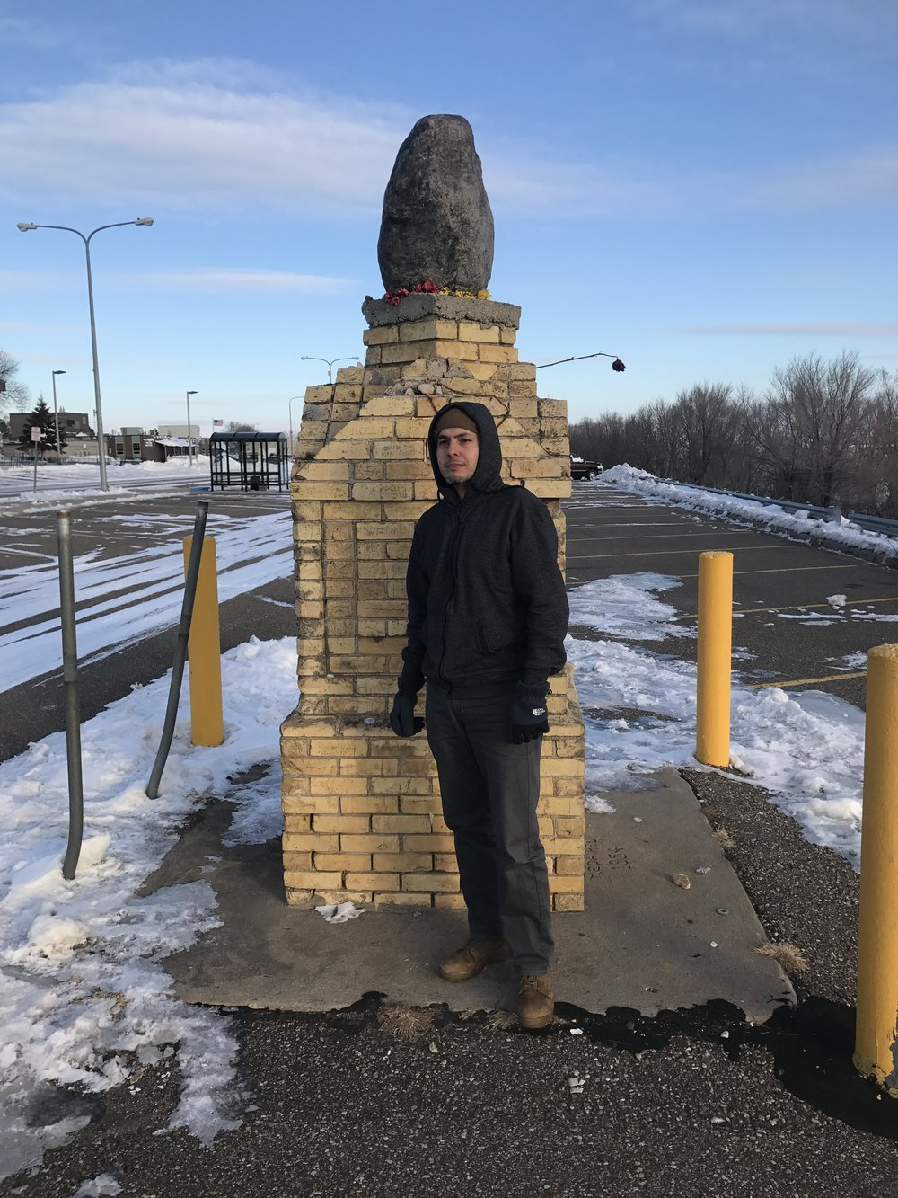 Brent the Hero, standing by the actual Standing Rock.