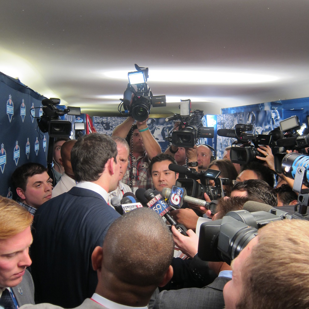 Andrew Luck in his first Scrum at the 2012 NFL Draft