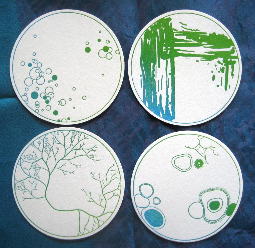 petri dish coasters from Proton Paperie & Press  www.etsy.com/shop/protonpaperie