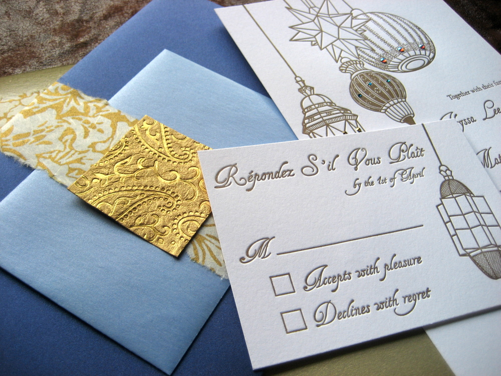 Moroccan lamps custom letterpress invitation suite  Proton Paperie & Press
