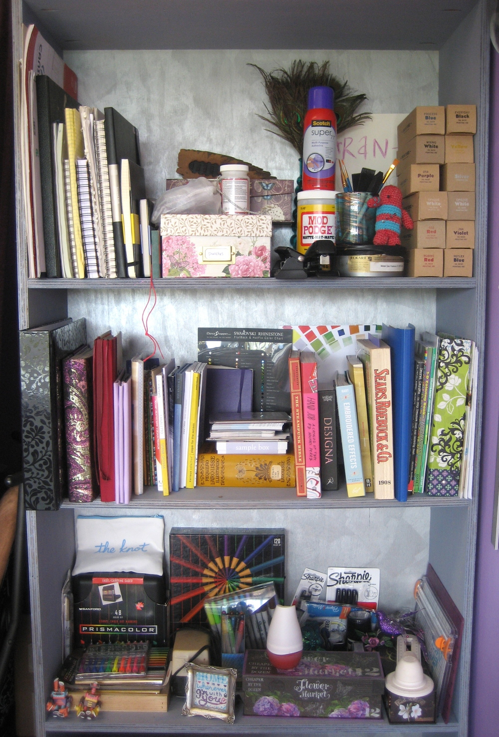 Colorful books, samples, and supplies
