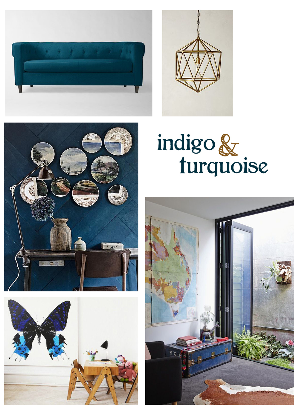 West Elm  Chester Tufted Sofa  | Anthropologie  Euclidean Pendant  |  |  vt wonen  via SF Girl by Bay  Indigo    Kid & Coe  via Handmade Charlotte  Butterflies  | The Design Files  Heirloom Trunk