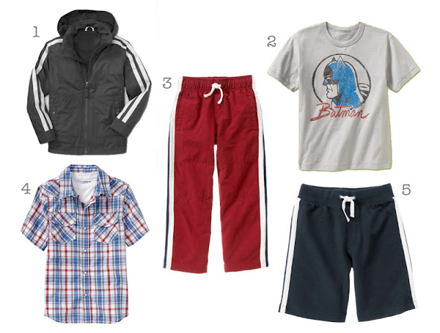 1. Gap Active Jacket, $40 2. Junk Food Superhero T, $15 3. Gymboree Lined Active Pant, $20 4. Old Navy Western Shirt, $15 5. Gymboree Terry Short $10