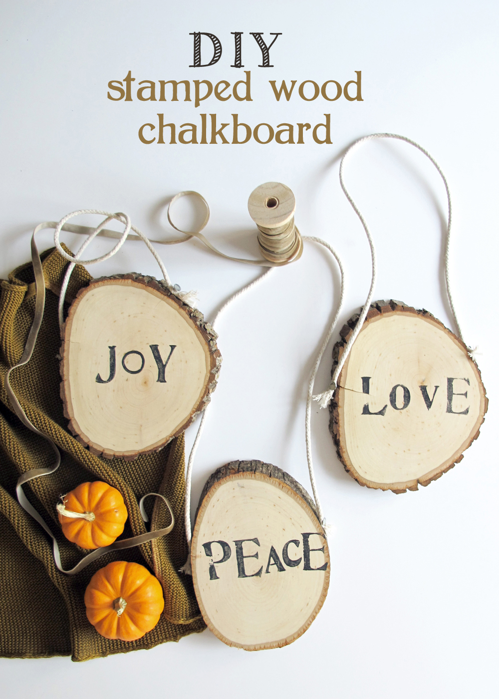 stamped wood slice chalkboard with step by step instructions
