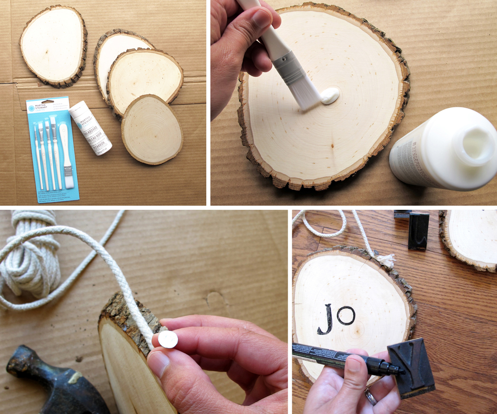 how to make stamped wood slices with clear chalkboard paint