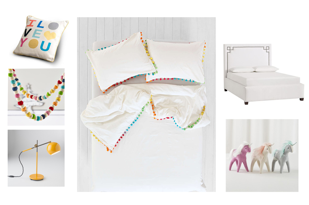 Love Letters Pillow 9 by Novogratz. Festive Felt Garland Land of Nod. Industrial Yellow Desk Lamp Schoolhouse Electric. Pom-Fringe Duvet Urban Outfitters. Loring Bed PBTeen. Plush Unicorns Land of Nod.