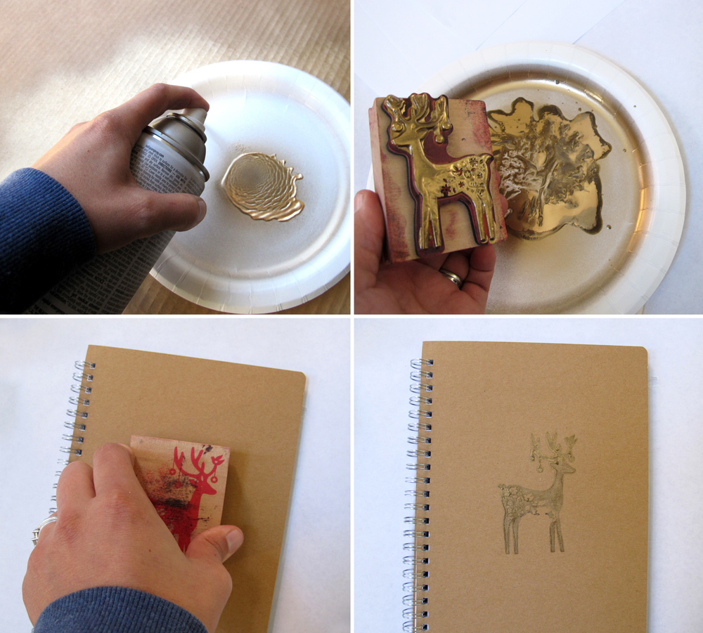 how to make stamped gold notebooks. great Christmas gift idea!