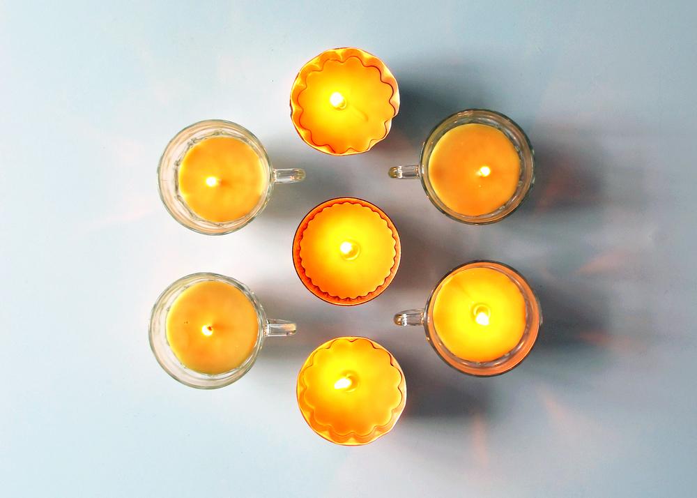 tea cup candles DIY