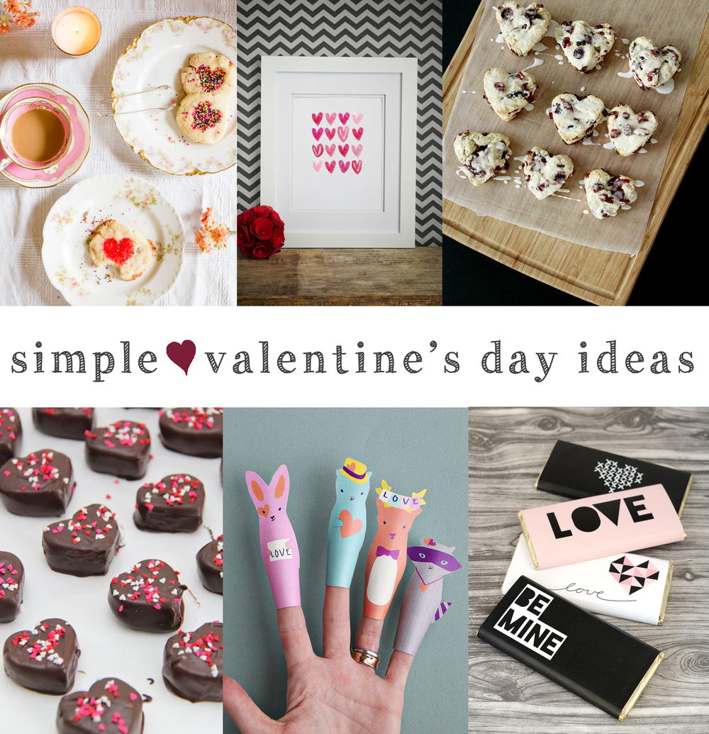 Valentine's Tea Party  Flax & Twine |  Watercolor Heart Printable  this heart of mine |  Cranberry Scones  The Sewing Rabbit   Chocolate Dipped Marshmallows  smashed peas and carrots |  Finger Puppets  smallful |  Chocolate Wraps  Oleander and Palm