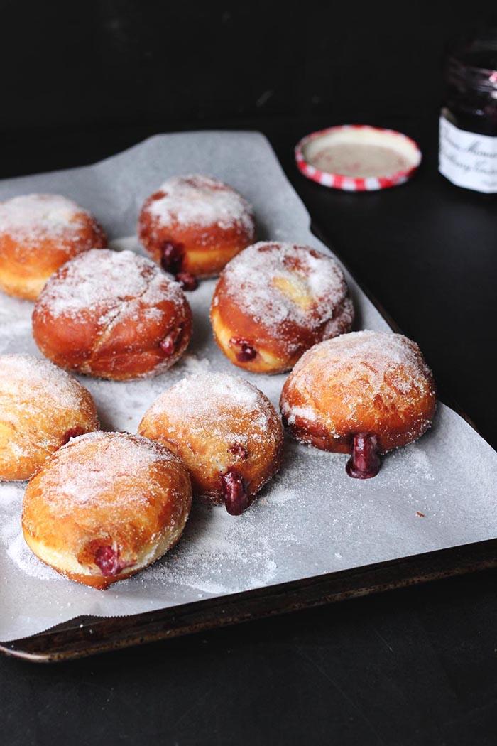 blackberry jam & custard donuts