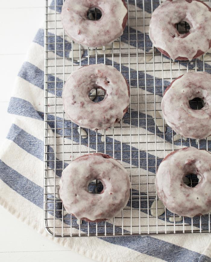 blackberry doughnuts with vanilla glaze
