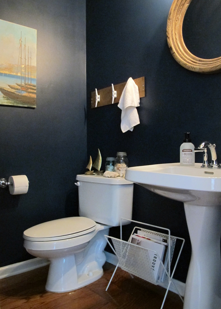 Nautical themed bathroom - Navy Half Bath Benjamin Moore Gentleman S Gray