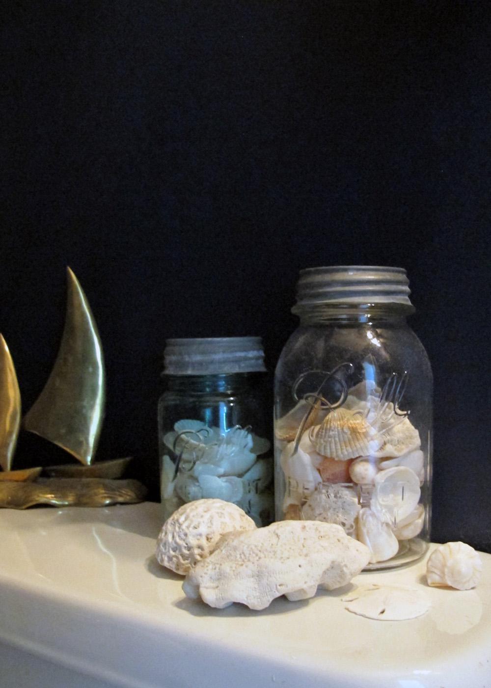 seashells in mason jars