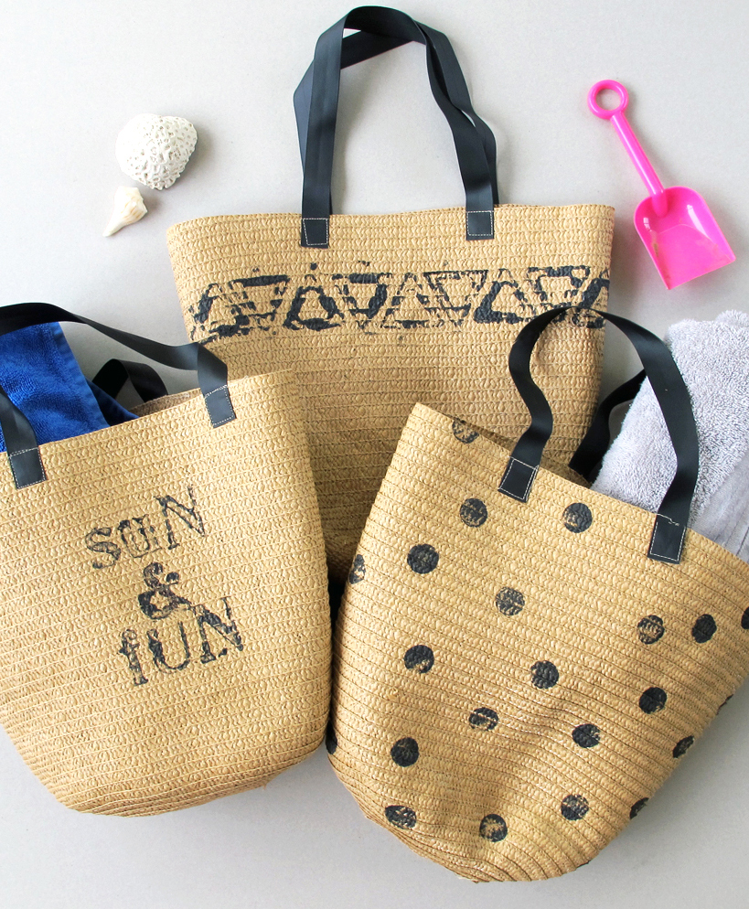 how to make a stamped beach bag!