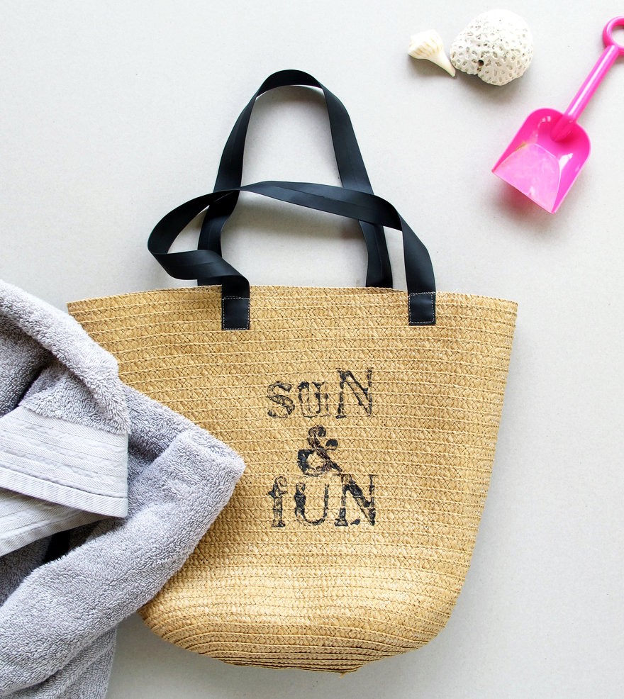 stamped beach bag! sun&fun | tag&tibby