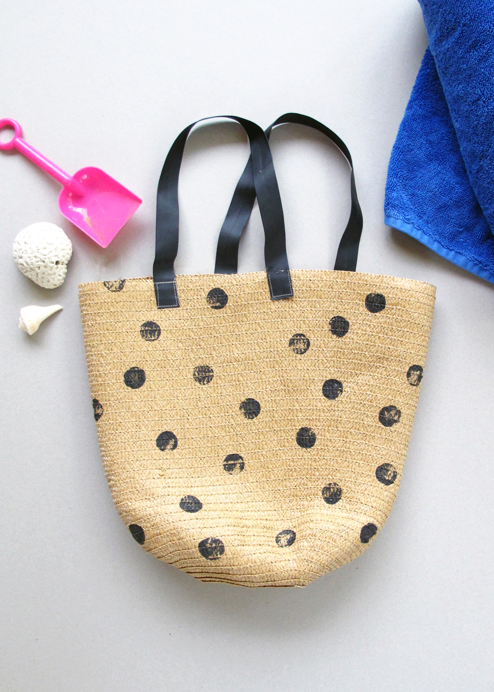 polka-dot beach bag DIY!
