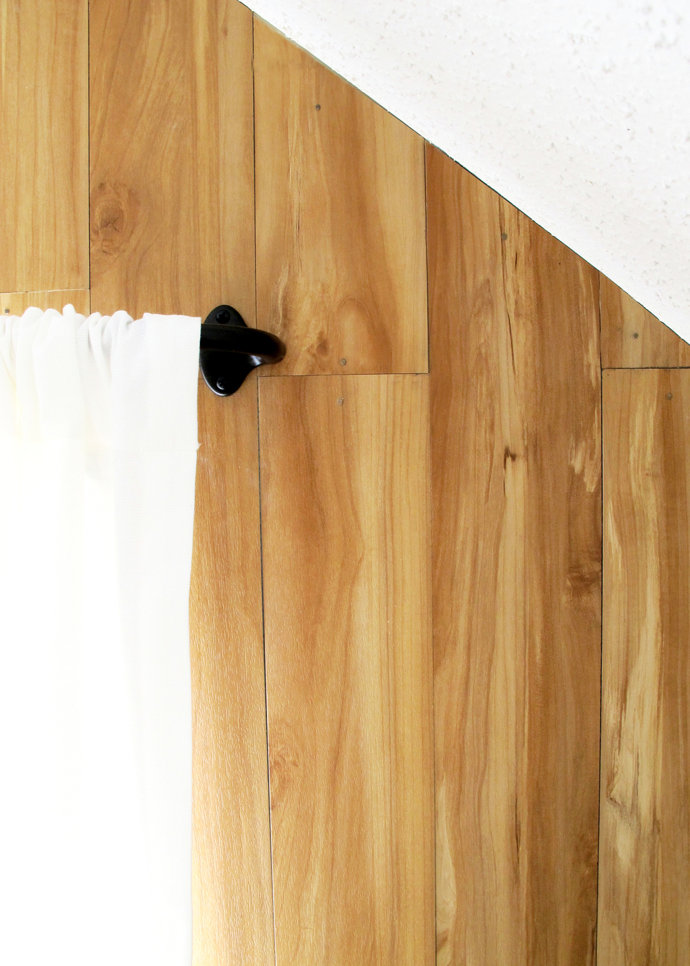DIY Wood Plank Wall with Faux Wood Flooring