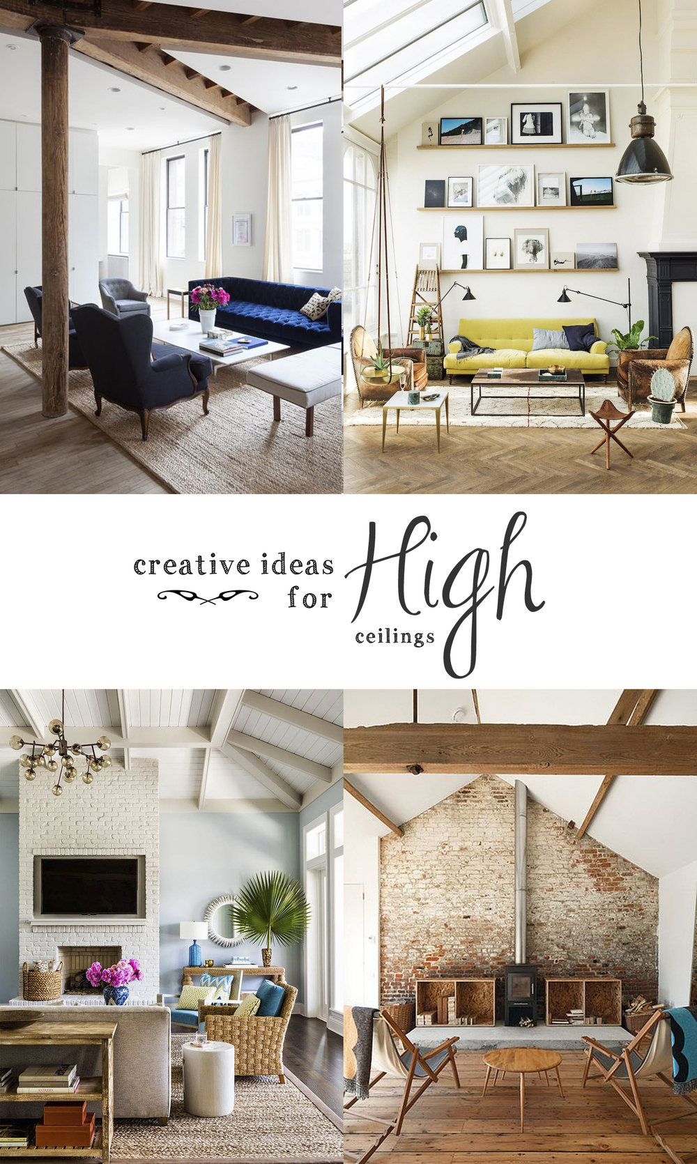 High ceilings without treatment can seem bare and stark. So here are six texture rich ideas that will add personality to your space!