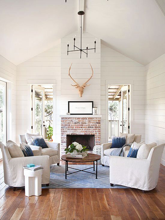 shiplap style paneling is still on trend and perfect for a high ceiling