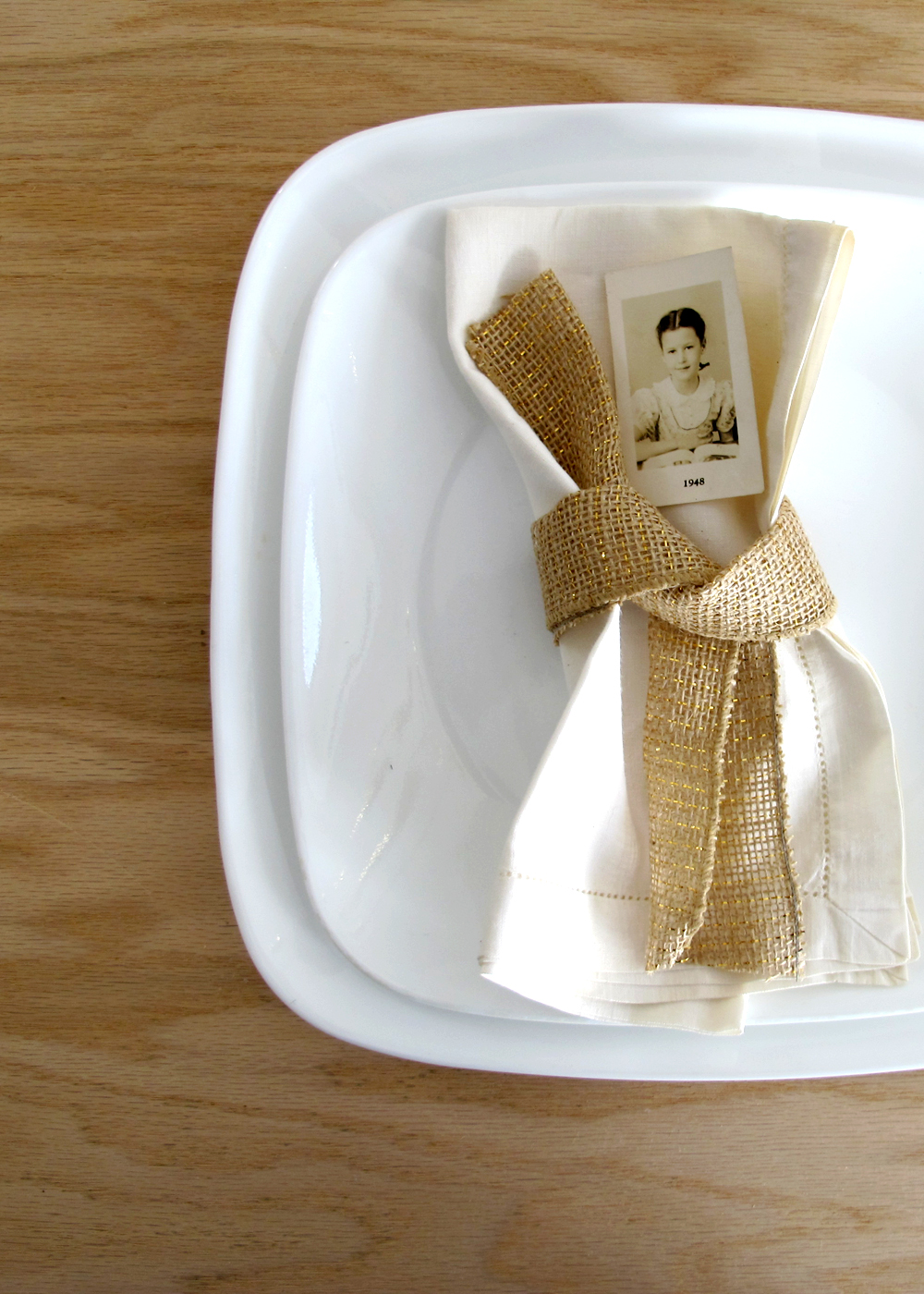 table setting with vintage photograph