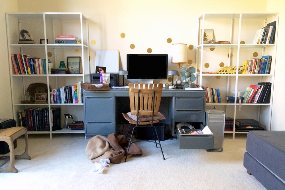 home office update with IKEA Vittsjo shelves