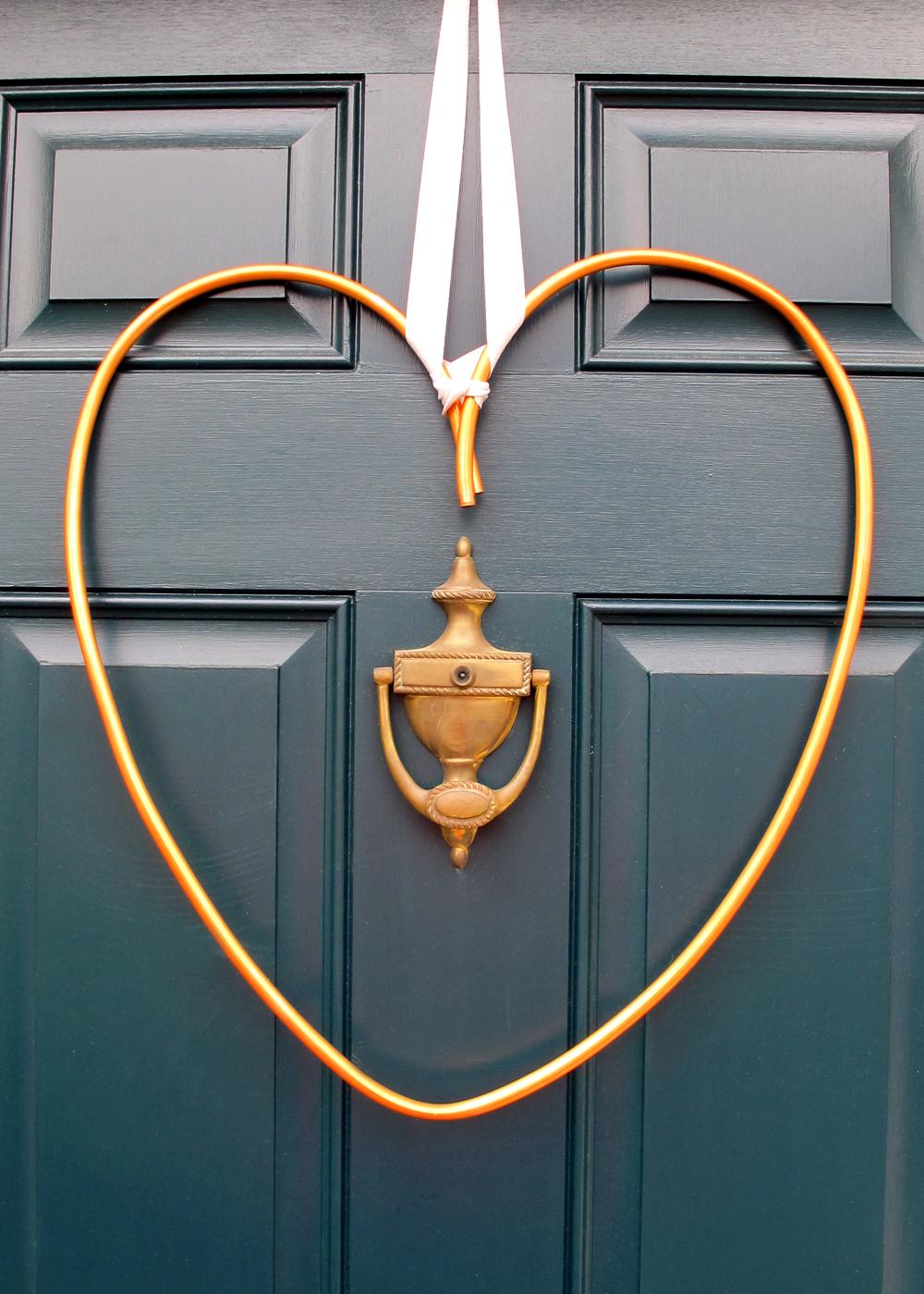 simple industrial copper heart wreath