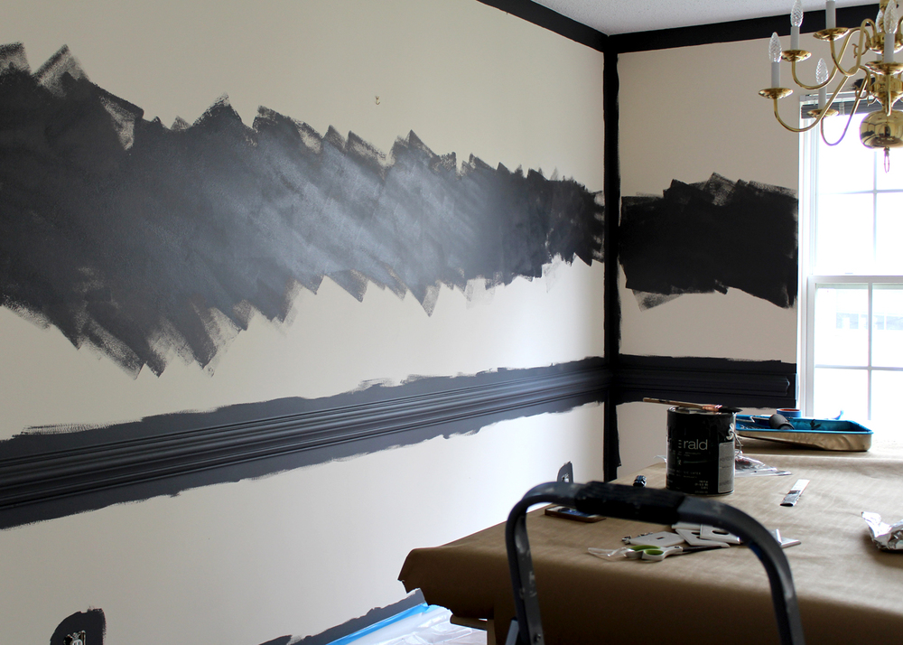 painting the chair rail and walls dark gray