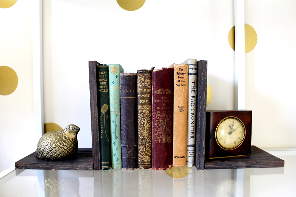 DIY bookends with homemade coffee stain for eHow