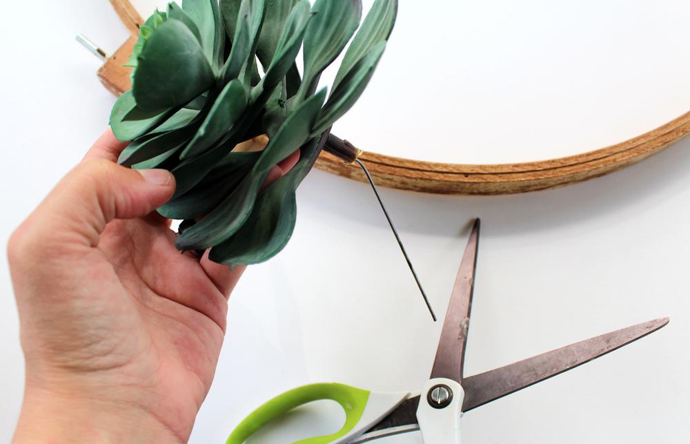 clip the plastic stem   faux succulent wreath via tag&tibby