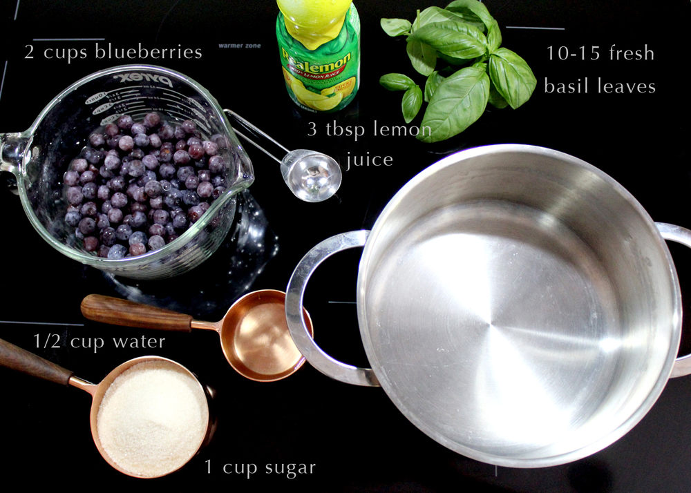 ingredients for blueberry basil syrup