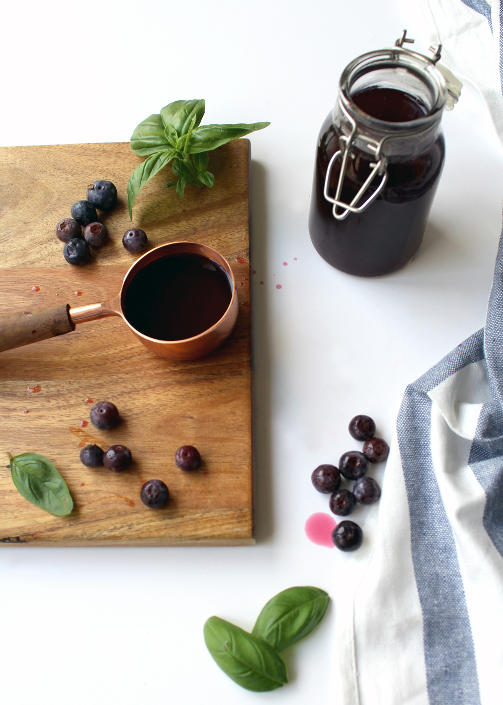 learn how to make this simple blueberry basil syrup in under 10 minutes